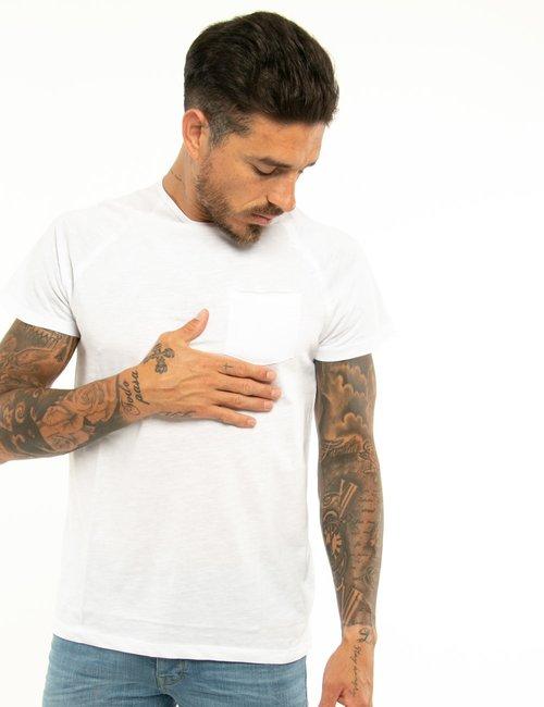 T-shirt Smiling London con taschino - Bianco