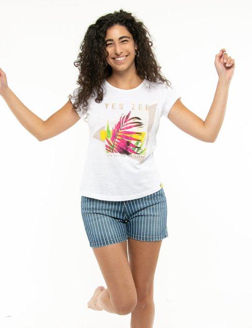 T-shirt Yes Zee con stampa e scritta glitterata - Bianco