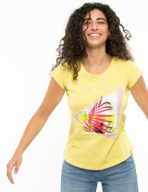 T-shirt Yes Zee con stampa e scritta glitterata - Giallo
