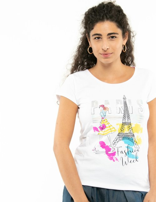 T-shirt Yes Zee con stampa colorata - Bianco