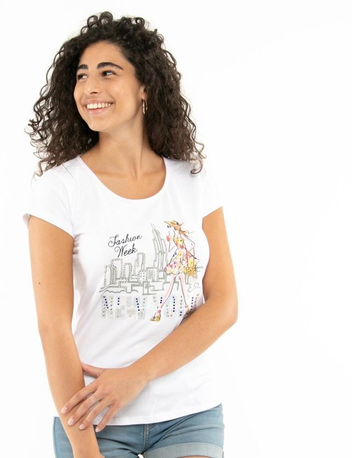 T-shirt Yes Zee stampa con strass - Bianco