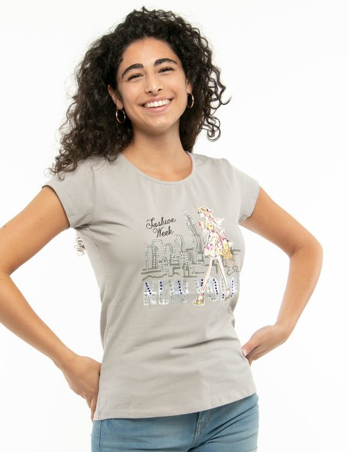 T-shirt Yes Zee stampa con strass - Grigio