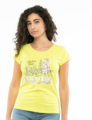 T-shirt Yes Zee stampa con strass