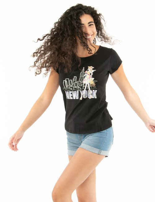 T-shirt Yes Zee stampa con strass - Nero