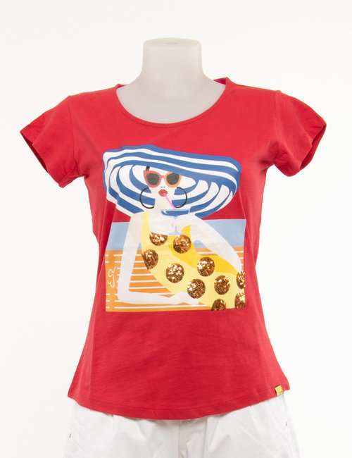 T-shirt Yes Zee con stampa e paillettes - Rosso