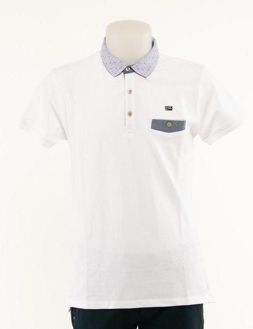 Polo Yes Zee con collo decorato - Bianco
