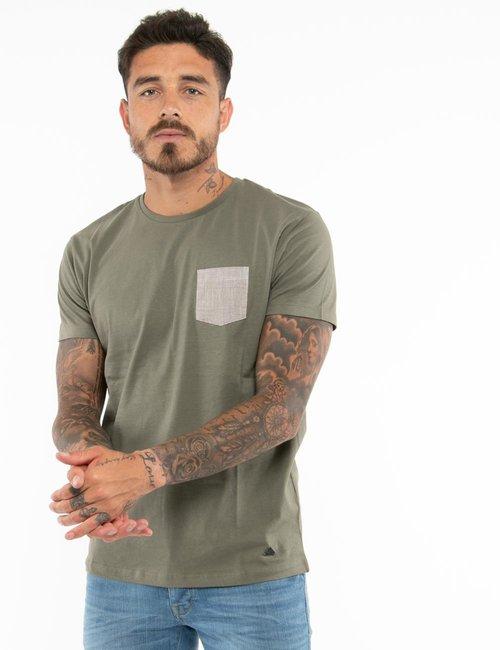 T-shirt Yes Zee con taschino a contrasto - Verde