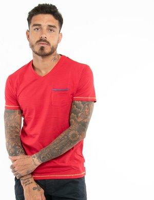 T-shirt Yes Zee con taschino e scollo a V