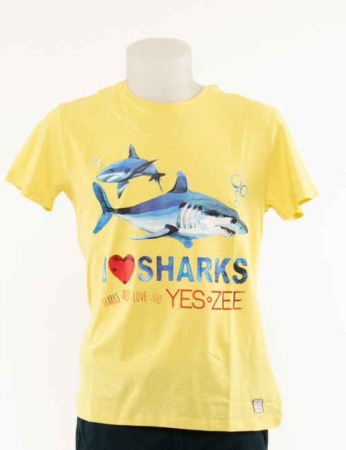 T-shirt Yes Zee stampata - Giallo