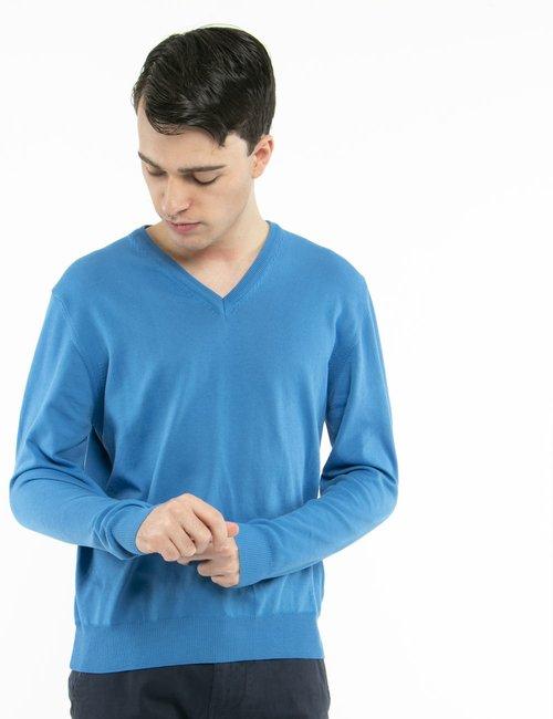 Pullover Nick Logan scollo a V - Azzurro