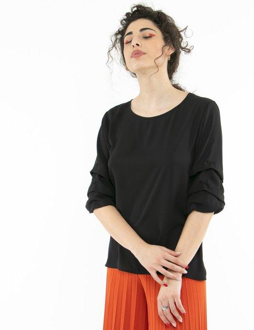 Camicia Vougue con maniche arricciate - Nero