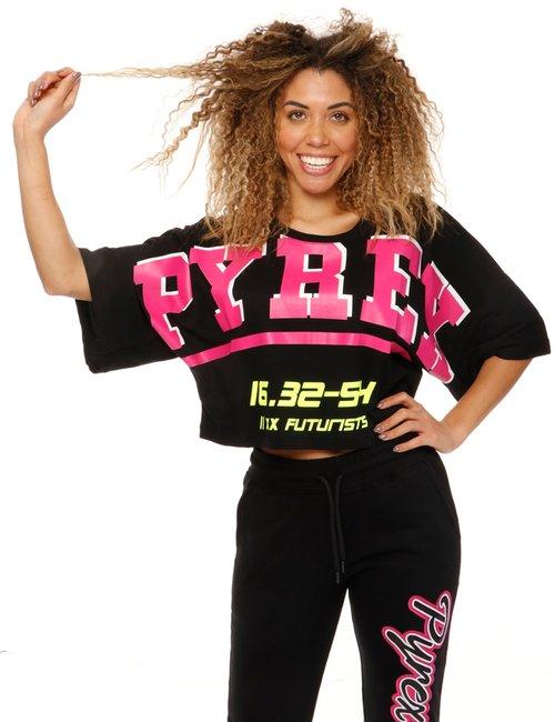 T-shirt Pyrex stampata con maxi maniche - Nero