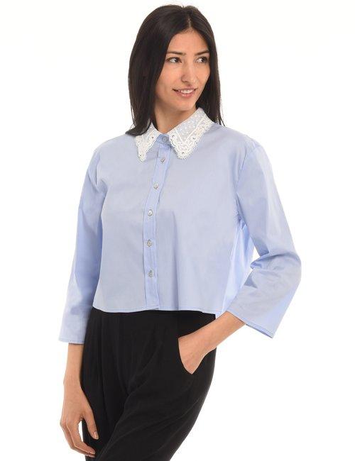 Camicia Vougue con collo in pizzo e manica dritta - Azzurro
