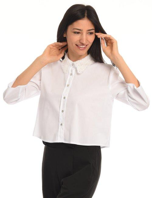 Camicia Vougue con collo in pizzo e manica dritta - Bianco