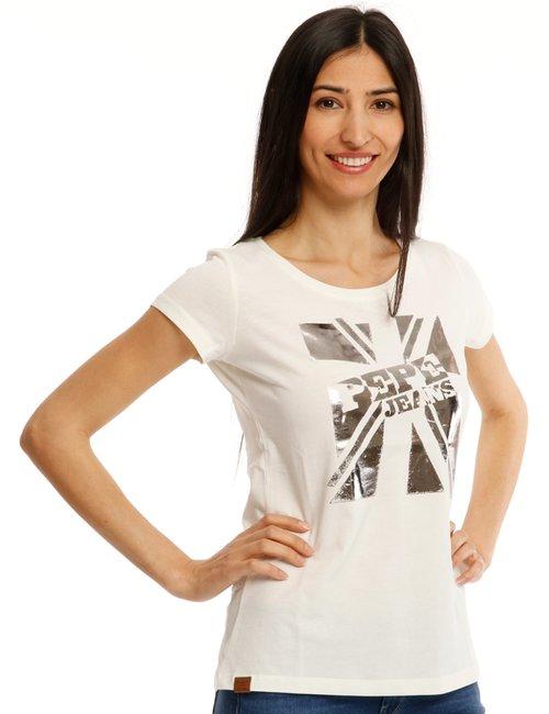 T-shirt Pepe Jeans con stampa metallizzata - Bianco