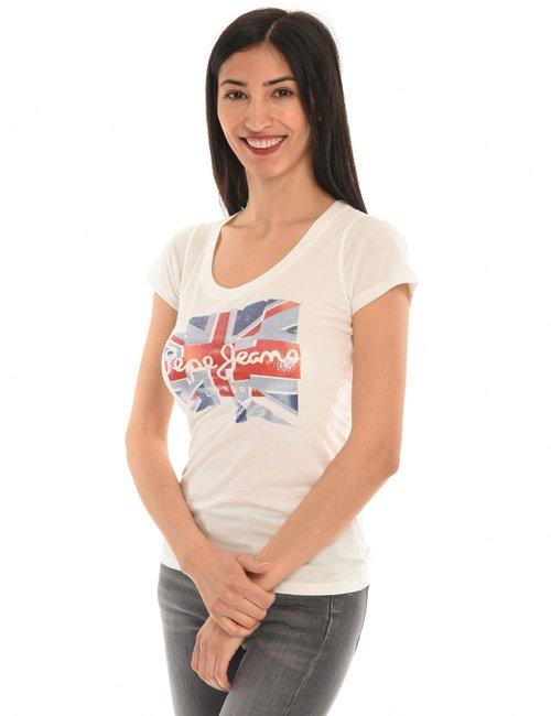 T-shirt Pepe Jeans con logo effetto lucido - Bianco