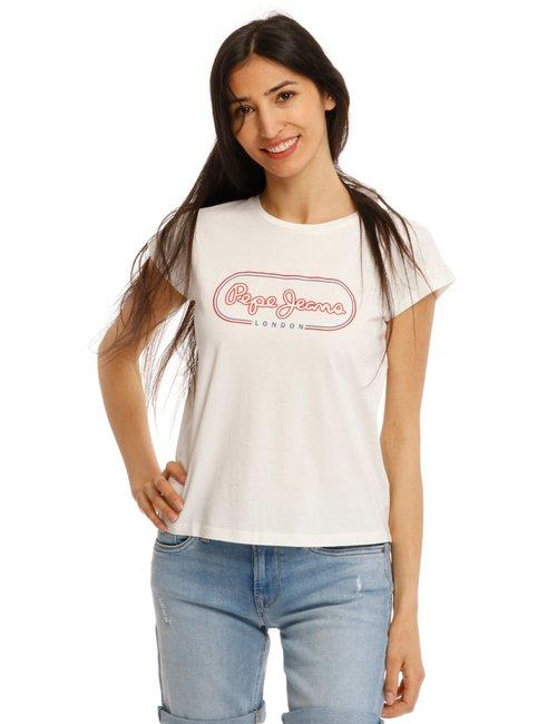 T-shirt Pepe Jeans con logo colorato - Bianco