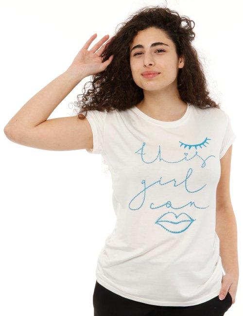 T-shirt Vougue con scritta - Bianco