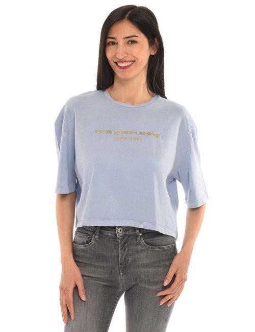 T-shirt Pepe Jeans con scritta ricamata - Azzurro