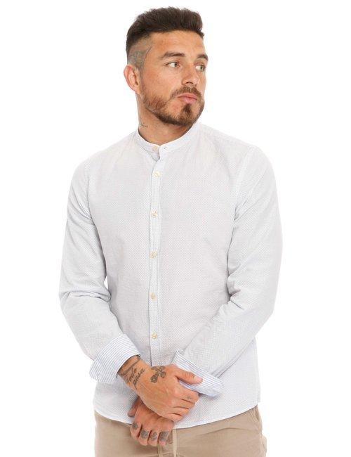 Camicia Fred Mello con collo alla coreana - Bianco