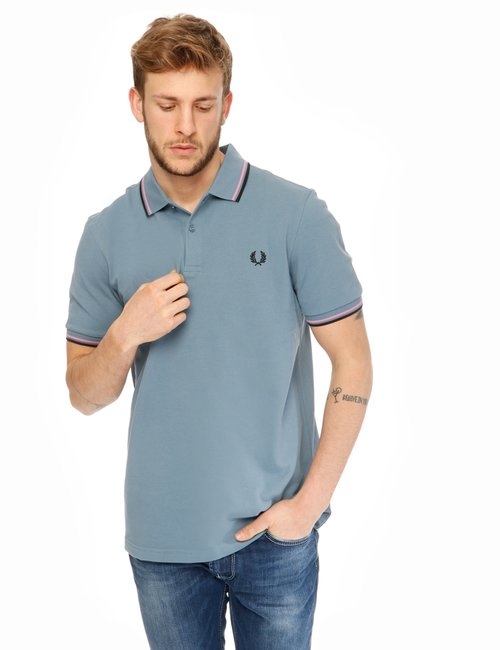 Polo Fred Perry con bordi a contrasto - Azzurro