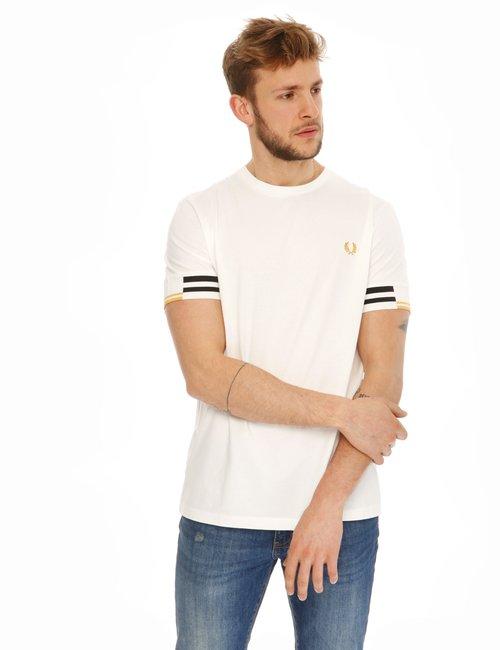 T-shirt Fred Perry con maniche elastiche - Bianco