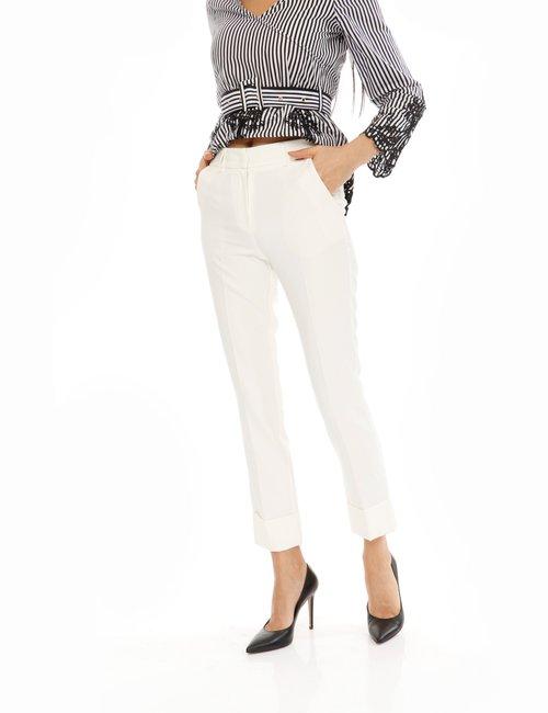 Pantalone Fracomina con risvolto - Bianco