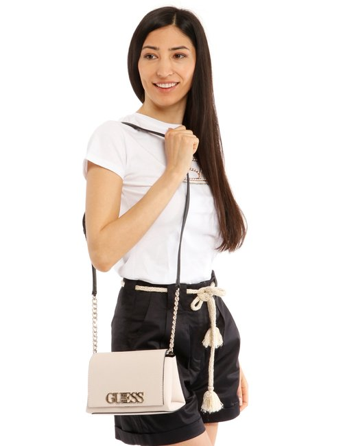 Borsa Guess con logo applicato - Beige