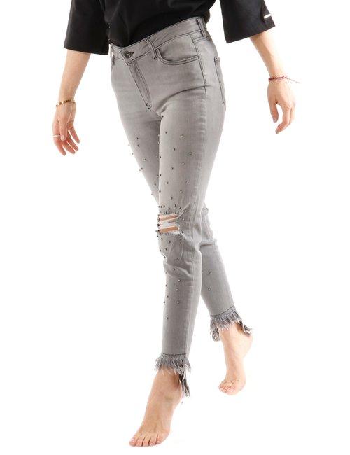 Jeans Imperfect con strappi e borchie - Grigio