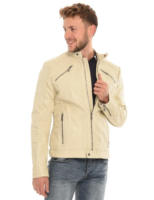 Giacca Yes Zee in similpelle - Beige