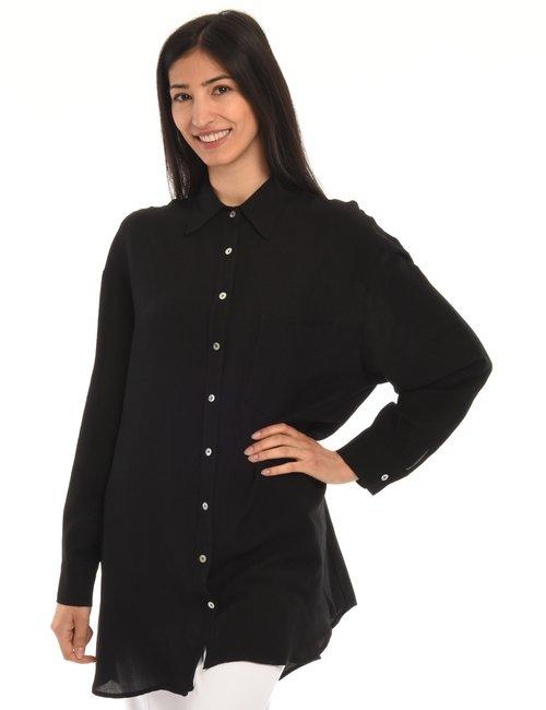 Camicia Vougue lunga - Nero