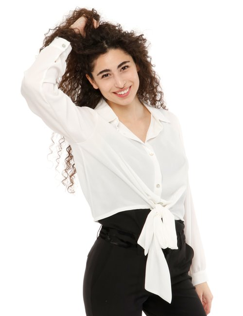Camicia Vougue con nodo in vita - Bianco