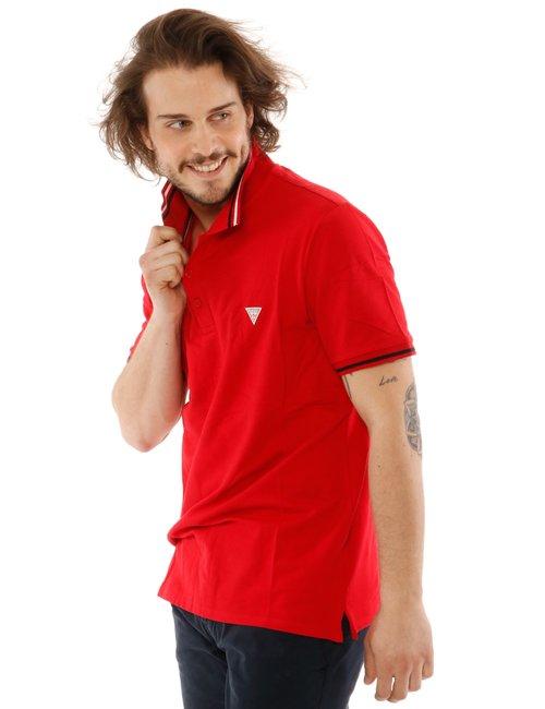 Polo  Guess con logo in rilievo - Rosso