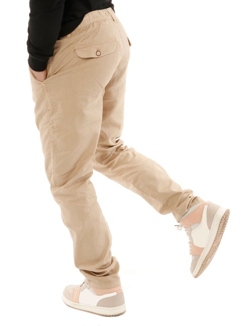 Pantalone  Yes zee con logo in pelle - Sabbia