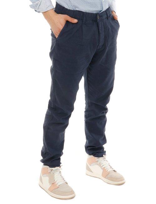 Pantalone Yes zee con logo in pelle - Blu