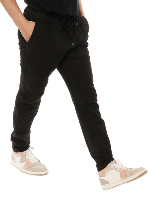 Pantalone  Yes zee con logo in pelle - Nero