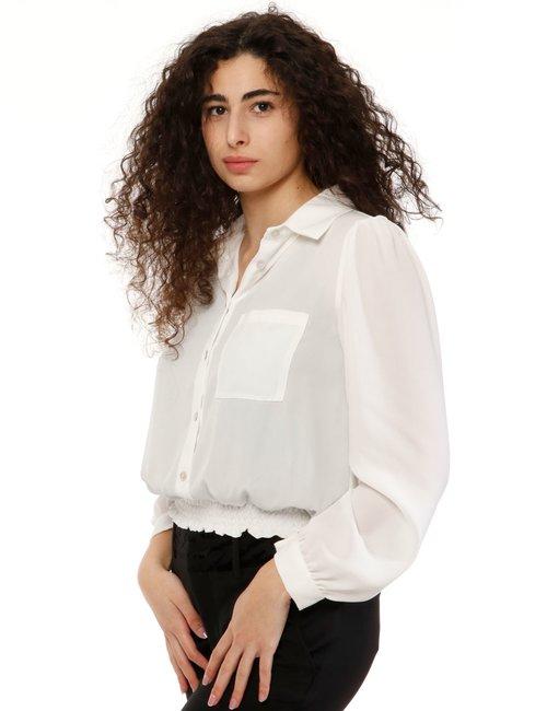 Camicia Vougue arricciata in vita - Bianco