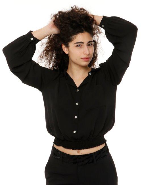 Camicia Vougue arricciata in vita - Nero