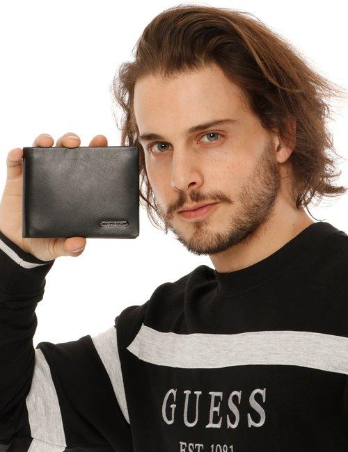 Portafoglio Guess in pelle con logo - Nero