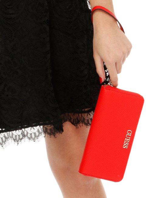 Portafoglio Guess con logo in rilievo - Rosso