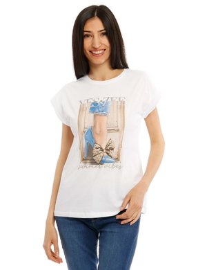 T-shirt Yes Zee con stampa e strass