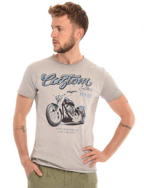 T-shirt Yes Zee stampa effetto consumato - Grigio