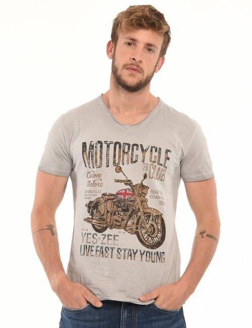 T-shirt Yes Zee con stampa - Grigio
