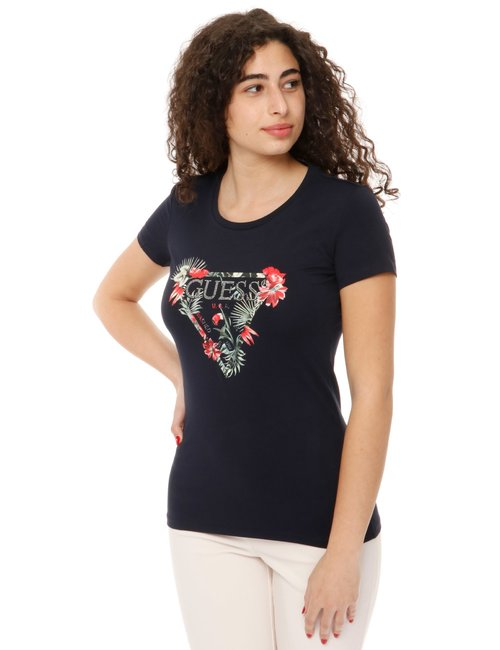 T-shirt Guess con logo glitterato - Blu