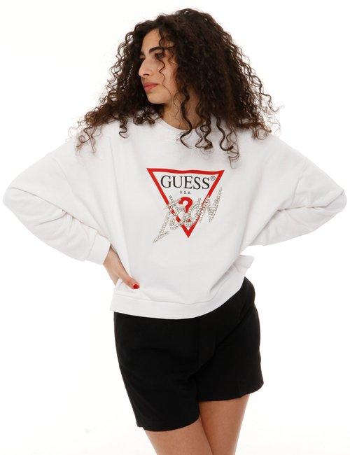 Felpa Guess con logo glitterato - Bianco
