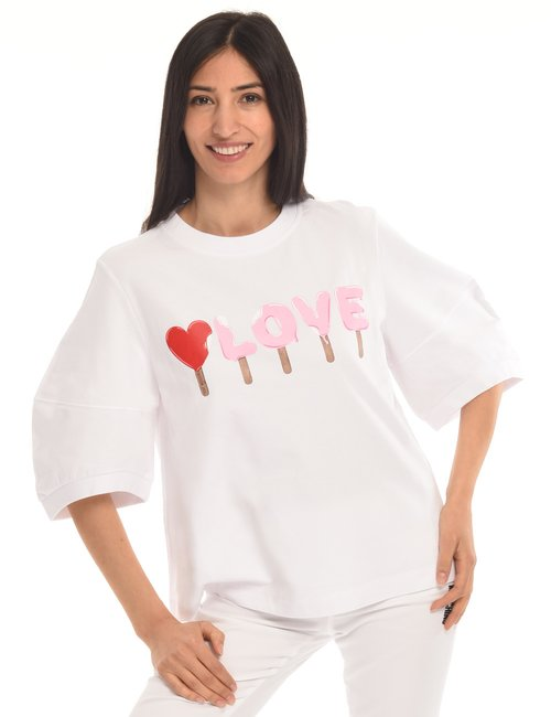 Felpa Love Moschino a maniche corte - Bianco