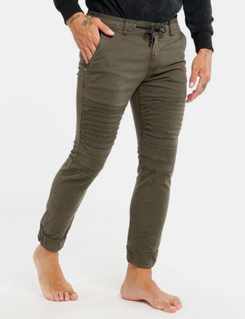 Jeans Berna con coulisse e zip - Verde