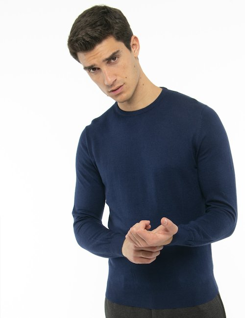 Maglione Maison Du Cachemire girocollo - Blu