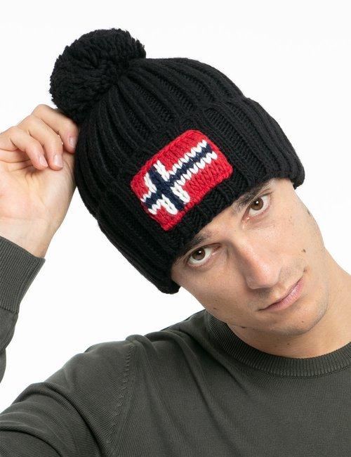 Cappello Napapijri con bandiera lavorata a maglia - Nero