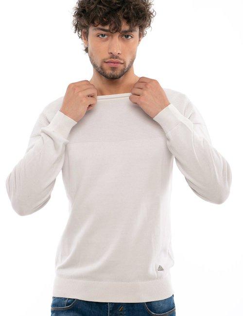 Maglia girocollo Yes Zee in cotone - White